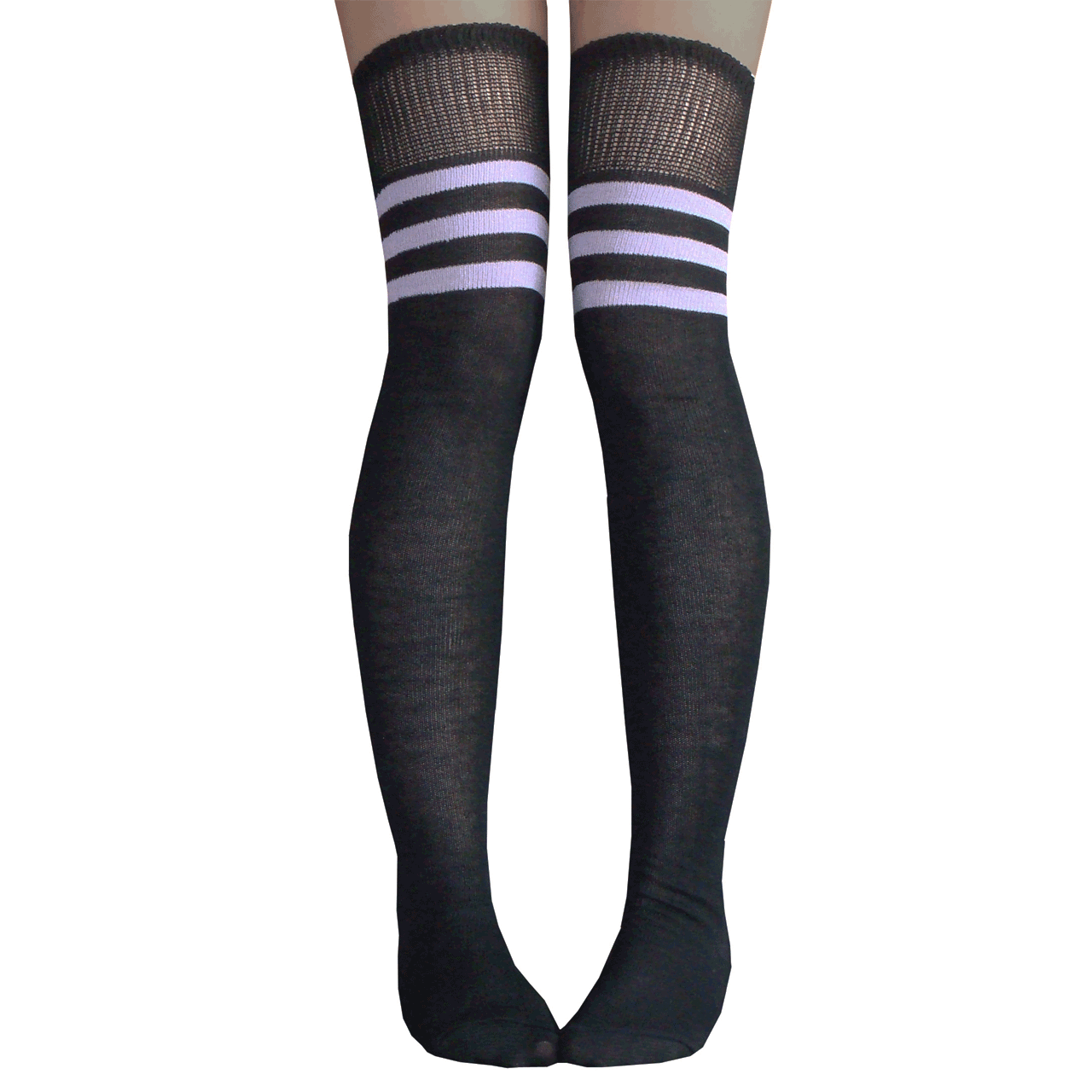 18b0f42cc1f40 Black and Lilac Athletic Striped Thigh Highs