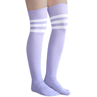 lilac colored over the knee socks with white stripes