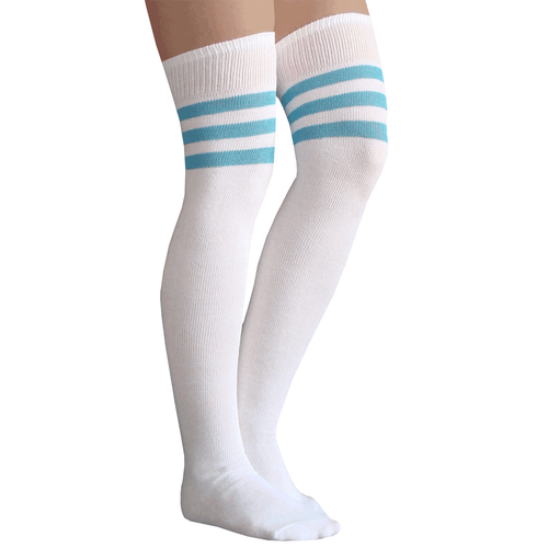light blue striped thigh highs