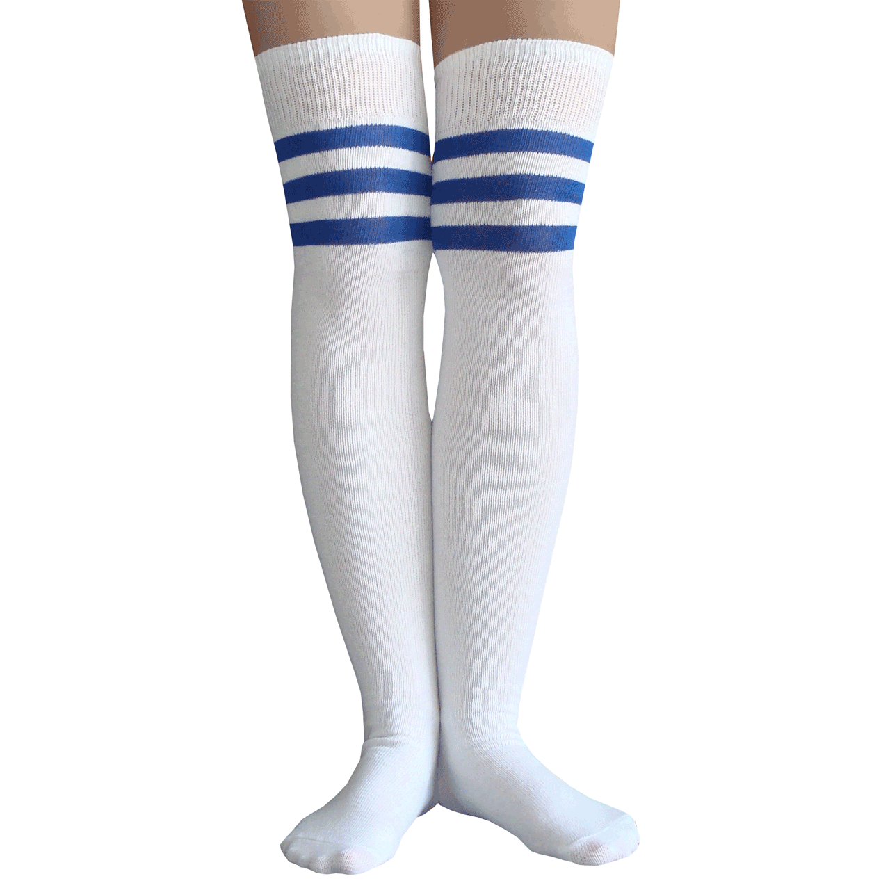 691bf782a White and royal blue athletic striped thigh high