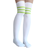 striped lime green thigh highs