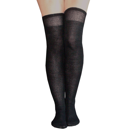 solid black over the knee socks