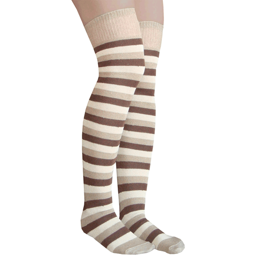 brown striped thigh highs