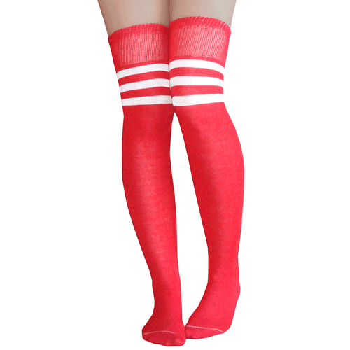 red/white athletic striped thigh highs