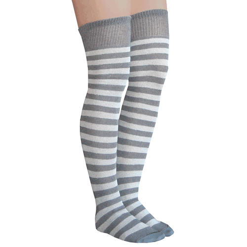 gray striped thigh highs