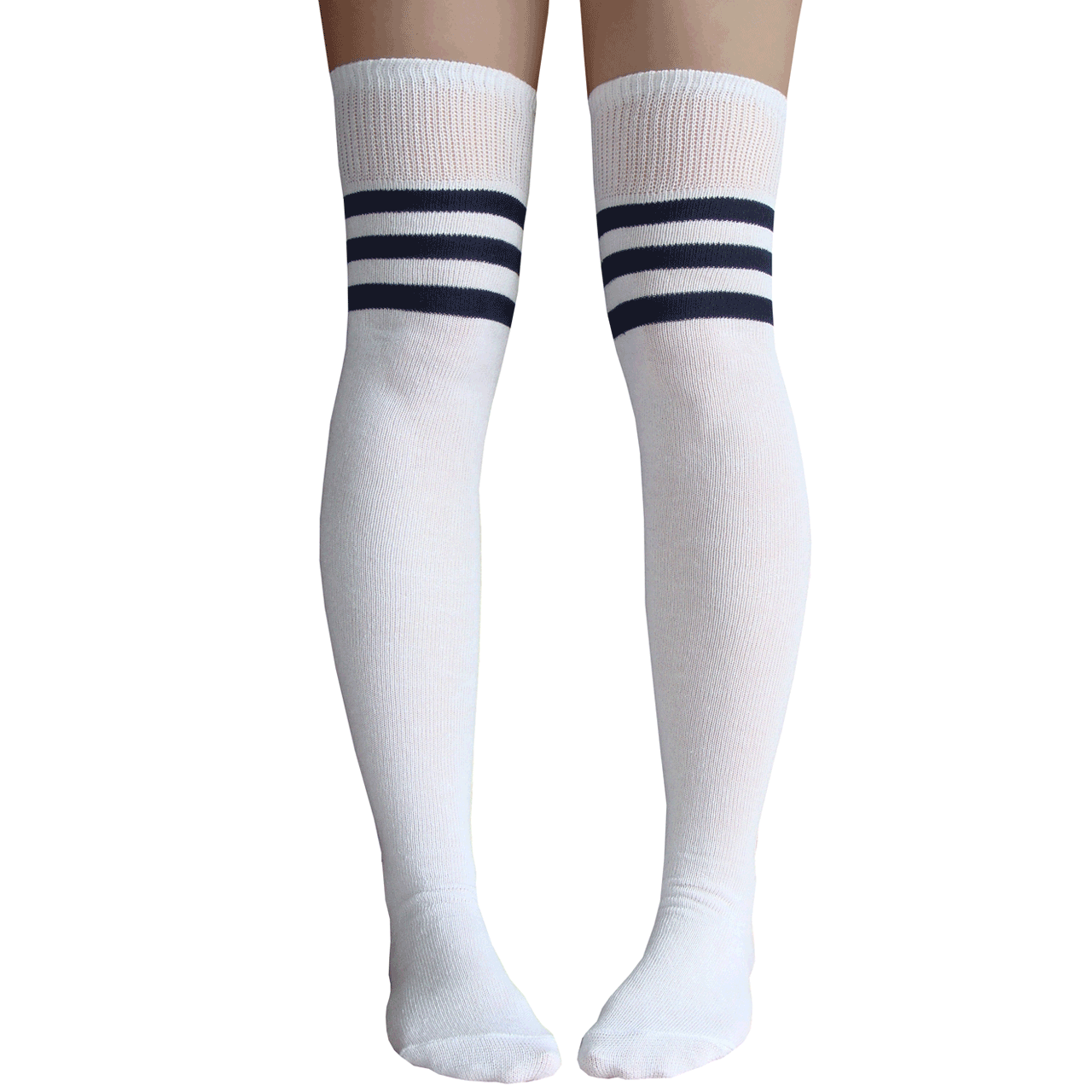 0567407ee60 White and Navy Blue Striped Thigh Highs