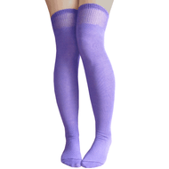solid purple over the knee socks