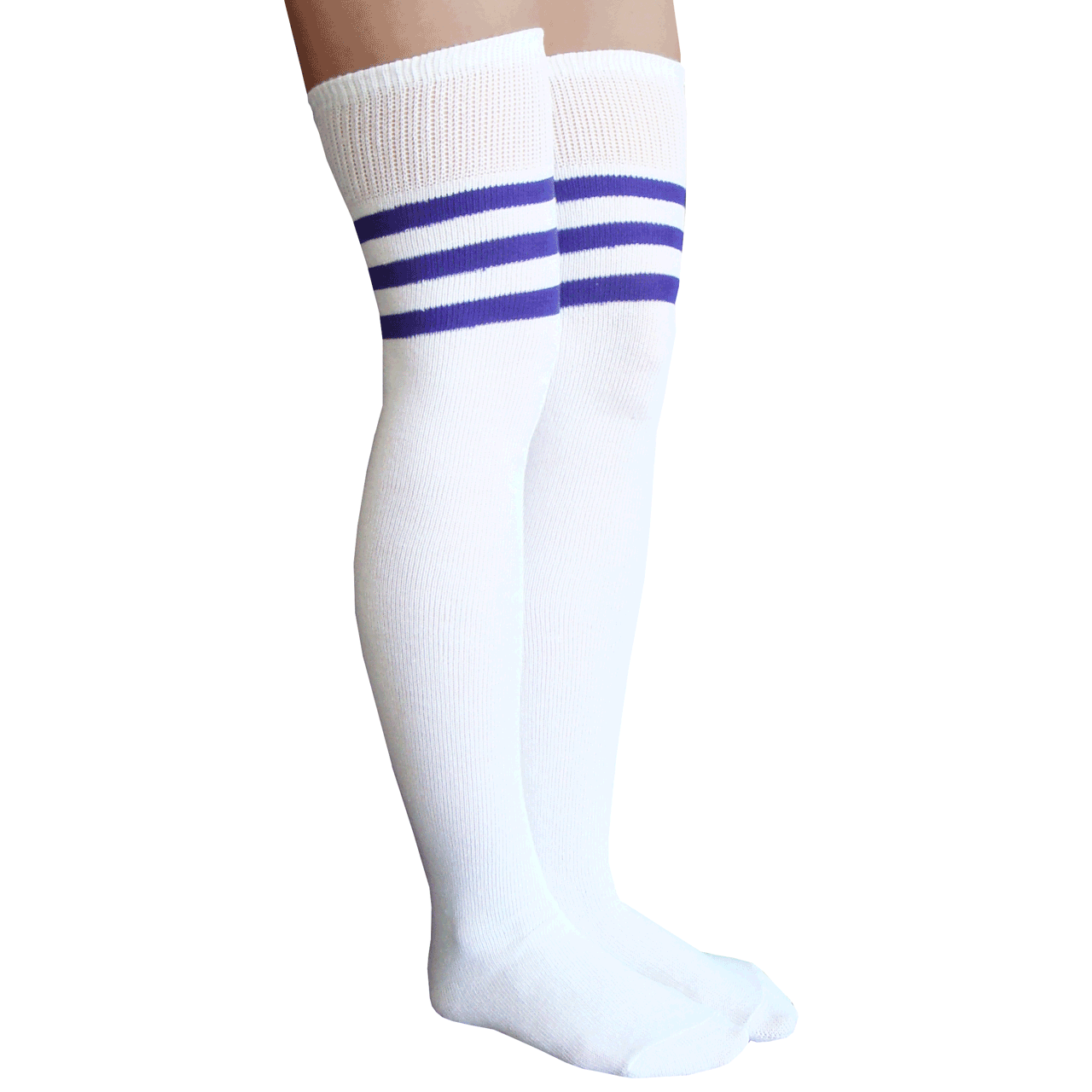 ba6c038930fe6 White and Purple Striped Thigh Highs