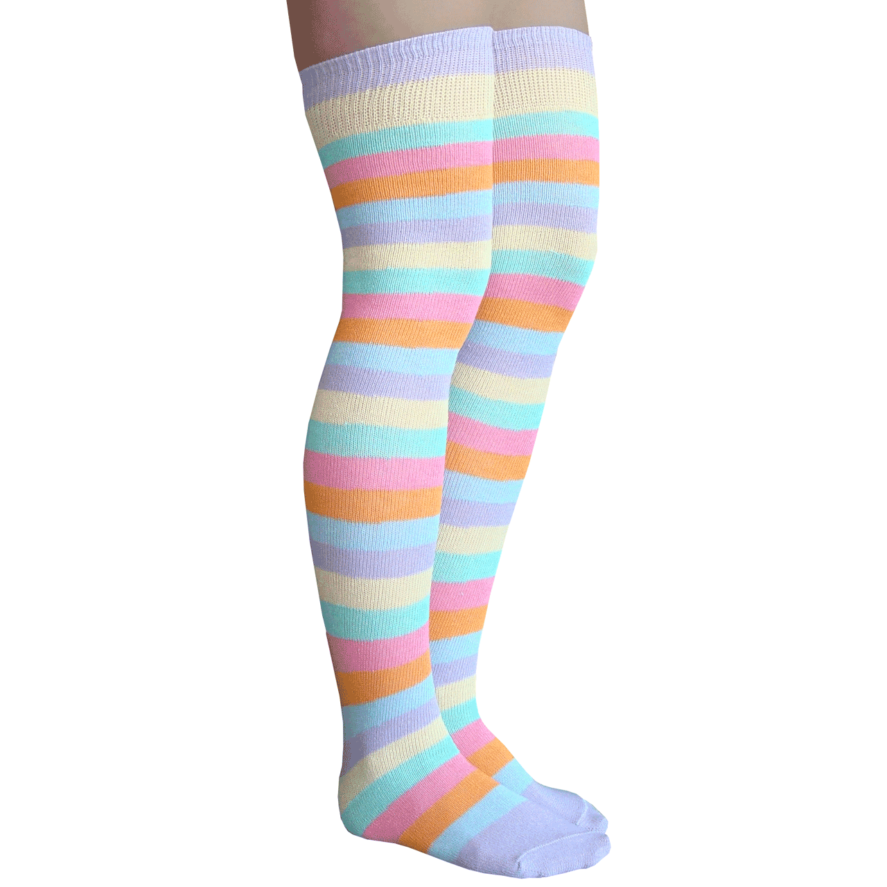 1590a6b8354 pastel striped over the knee socks. See 3 more pictures