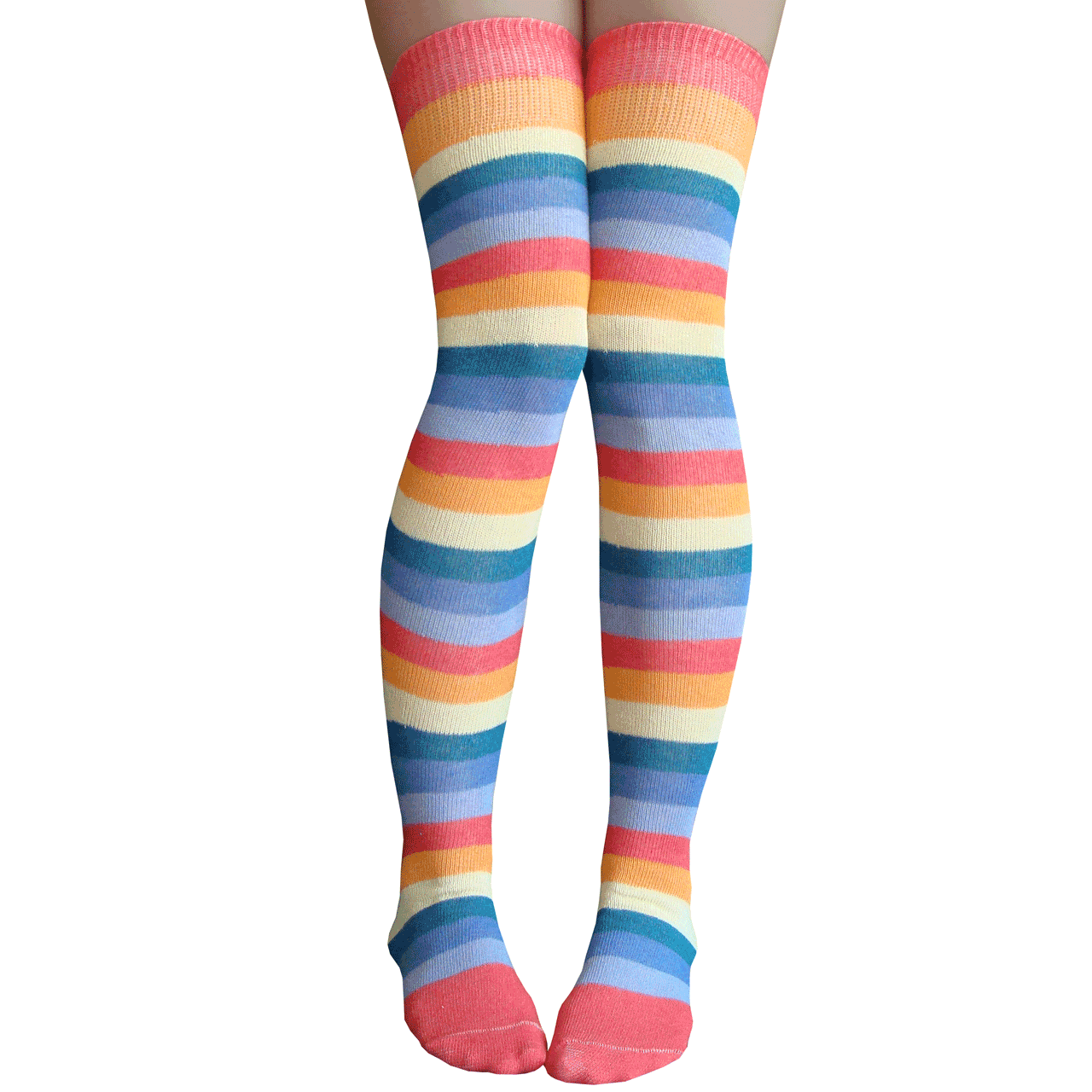 79758aee3b4 Washed out rainbow over the knee socks. See 1 more picture