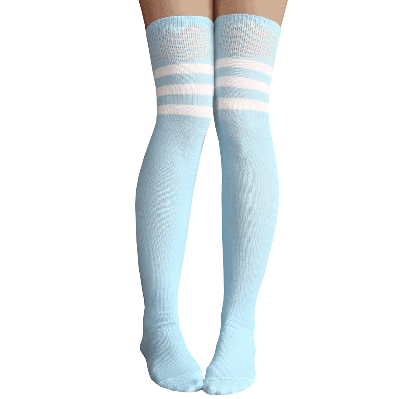 3acf9ec139b34 See 1 more picture. baby blue thigh highs. blue and white striped athletic  long socks