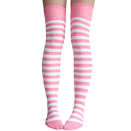 pink and white striped thigh highs