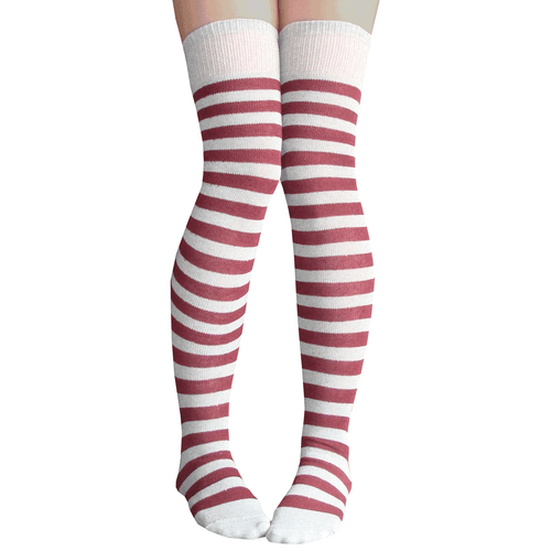 gray and burgundy striped socks