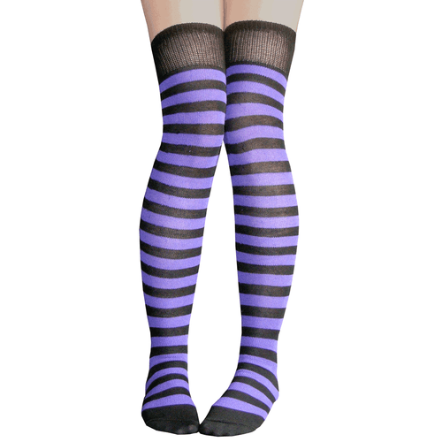 black and purple striped thigh highs