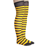 black and golden yellow striped thigh highs