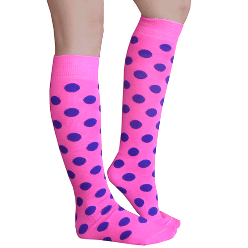 pink and purple spotted socks