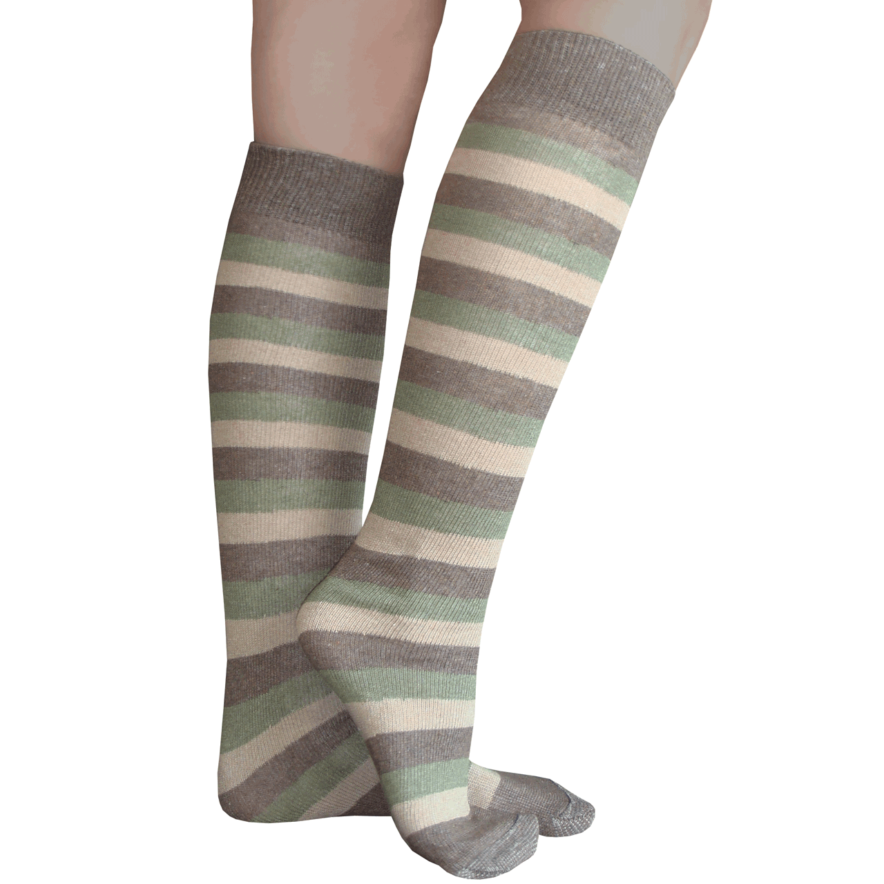 409dbaf6cd1 Earth Tone Striped Knee Socks