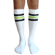 white mens tube socks with black and lime stripes