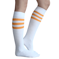 white socks with tangerine striped