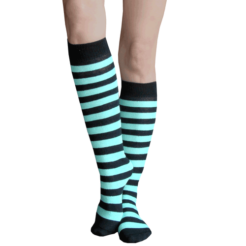 mint green striped socks