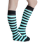 mint green and black striped knee highs