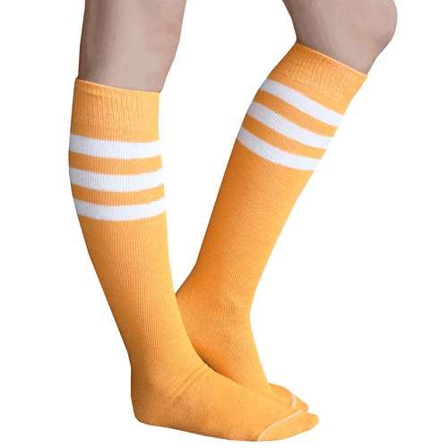 Tangerine Striped Tube Socks