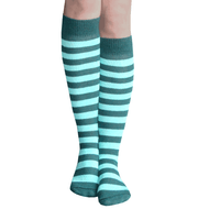 dark green and mint green striped socks