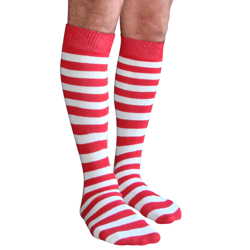 white and red mens striped socks