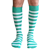 mens striped tube socks green/white