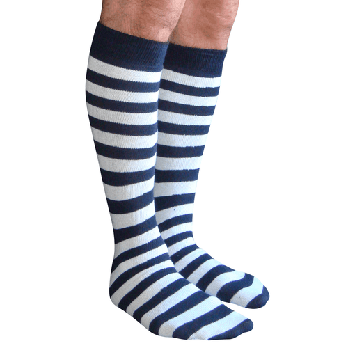 mens striped tube socks navy/white