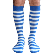 Royal Blue/White Striped Mens Socks