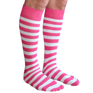 mens striped pink/white socks