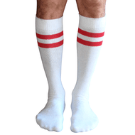 mens red striped tube socks