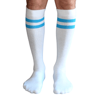 mens white/neon blue tube socks