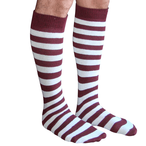 maroon and white mens striped tube socks
