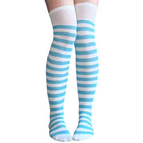 white and blue striped thigh highs