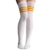 white and gold thigh highs