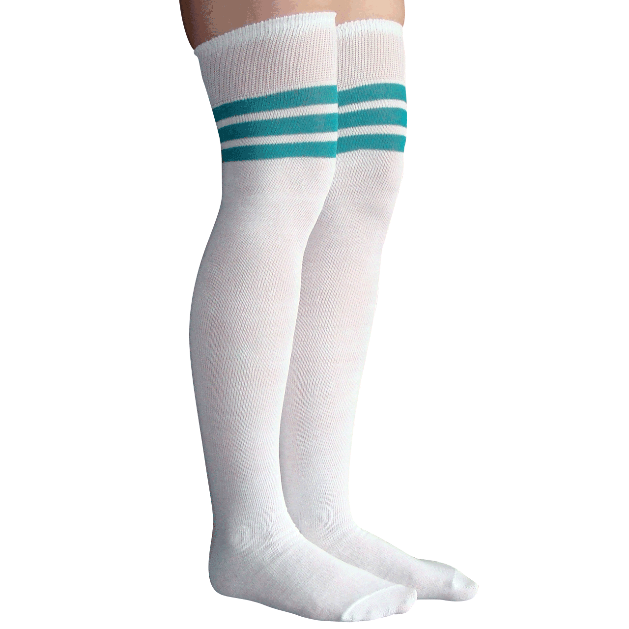 397f656f1ce White and Teal Striped Thigh Highs