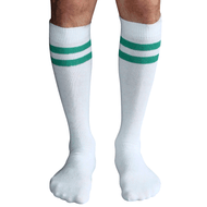 white and green mens tube socks
