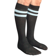 mens striped tube socks (black/blue)