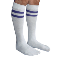 mens white and purple striped socks