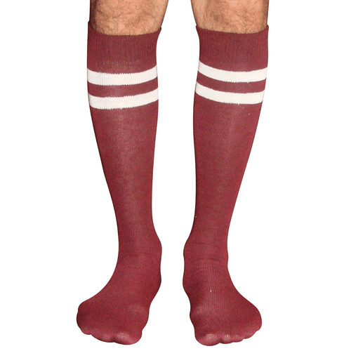 mens striped tube socks (maroon/white)