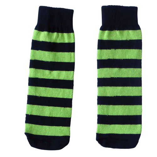 black & neon green striped kids socks