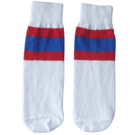 white tube socks with red and royal blue (kids)