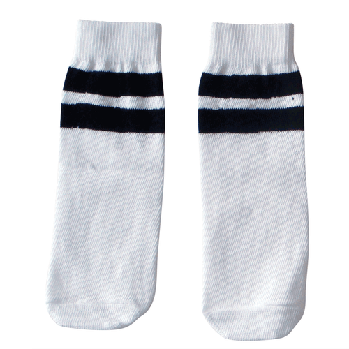 white/black kids tube socks