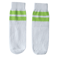 white and lime green kids socks