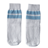 white and baby blue kids socks