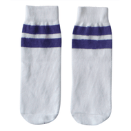 white and purple kids socks