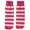 neon pink and white striped kids socks