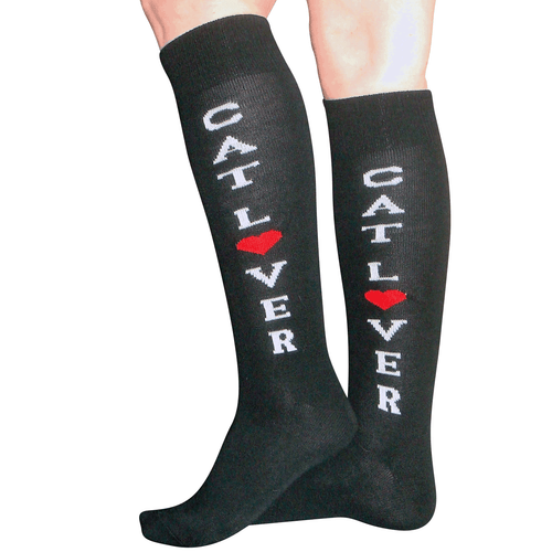 black socks with cat lover lettering